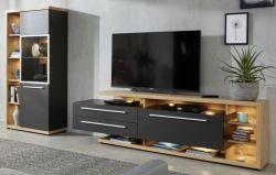Wohnwand Odino in matt grau und Asteiche / Eiche Schrankwand 2-tlg. 309 x 167 cm mit Vitrine und TV-Lowboard