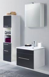 Badkombination Viva in schwarz Seidenglanz Badmöbel inkl. Waschbecken und LED Spiegellampe Set 5-tlg. 110 x 190 cm