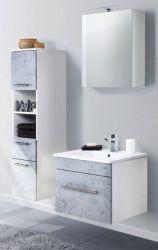 Badkombination Viva in Stone Design grau Badmöbel inkl. Waschbecken und LED Spiegellampe Set 5-tlg. 110 x 190 cm