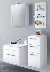 Badmöbel Set 7-tlg. Viva Hochglanz weiß Badkombination inkl. Waschbecken und LED Beleuchtung 110 cm