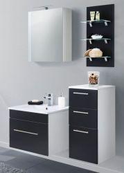 Badmöbel Set 7-tlg. Viva schwarz Seidenglanz Badkombination inkl. Waschbecken und LED Beleuchtung 110 cm