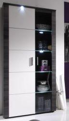 Vitrine Vitrinenschrank Xpress Esche grau weiß 89 x 197 cm inkl. LED Beleuchtung