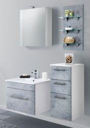 Badmöbel Set 7-tlg. Viva Stone Design grau Badkombination inkl. Waschbecken und LED Beleuchtung 110 cm