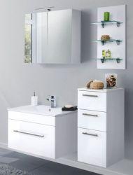 Badmöbel Set 7-tlg. Viva Hochglanz weiß Badkombination inkl. Waschbecken und LED Spiegellampe 125 x 190 cm