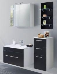 Badmöbel Set 7-tlg. Viva schwarz Seidenglanz Badkombination inkl. Waschbecken und LED Spiegellampe 125 x 190 cm