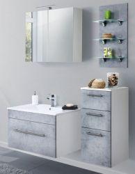 Badmöbel Set 7-tlg. Viva Stone Design grau Badkombination inkl. Waschbecken und LED Spiegellampe 125 x 190 cm