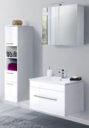 Badmöbel Set 5-tlg. Viva Hochglanz weiß Badkombination inkl. Waschbecken und LED Spiegellampe 125 x 190 cm