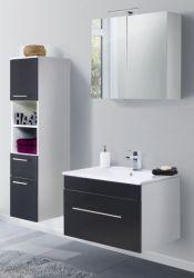 Badmöbel Set 5-tlg. Viva schwarz Seidenglanz Badkombination inkl. Waschbecken und LED Spiegellampe 125 x 190 cm