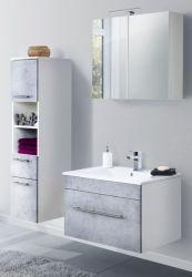Badmöbel Set 5-tlg. Viva Stone Design grau Badkombination inkl. Waschbecken und LED Spiegellampe 125 x 190 cm