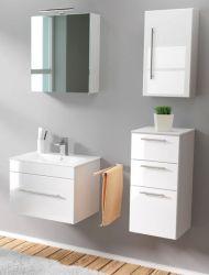 Badmöbel Set 6-tlg. Viva Hochglanz weiß Badkombination inkl. Waschbecken und LED Spiegellampe 110 x 190 cm