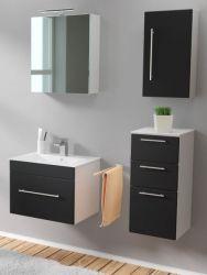 Badmöbel Set 6-tlg. Viva schwarz Seidenglanz Badkombination inkl. Waschbecken und LED Spiegellampe 110 x 190 cm