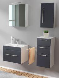 Badmöbel Set 6-tlg. Viva anthrazit Seidenglanz Badkombination inkl. Waschbecken und LED Spiegellampe 110 x 190 cm