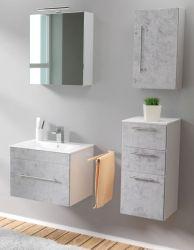 Badmöbel Set 6-tlg. Viva Stone Design grau Badkombination inkl. Waschbecken und LED Spiegellampe 110 x 190 cm