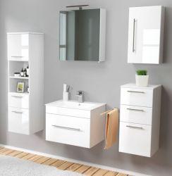 Badmöbel Set 7-tlg. Viva Hochglanz weiß Badkombination inkl. Waschbecken und LED Spiegellampe 160 x 190 cm