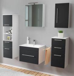 Badmöbel Set 7-tlg. Viva schwarz Seidenglanz Badkombination inkl. Waschbecken und LED Spiegellampe 160 x 190 cm