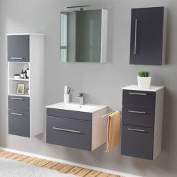 Badmöbel Set 7-tlg. Viva anthrazit Seidenglanz Badkombination inkl. Waschbecken und LED Spiegellampe 160 x 190 cm