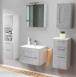 Badmöbel Set 7-tlg. Viva Stone Design grau Badkombination inkl. Waschbecken und LED Spiegellampe 160 x 190 cm