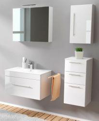 Badmöbel Set 6-tlg. Viva Hochglanz weiß Badkombination inkl. Waschbecken und LED Spiegellampe 125 x 190 cm