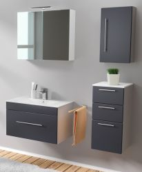 Badmöbel Set 6-tlg. Viva anthrazit Seidenglanz Badkombination inkl. Waschbecken und LED Spiegellampe 125 x 190 cm