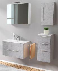 Badmöbel Set 6-tlg. Viva Stone Design grau Badkombination inkl. Waschbecken und LED Spiegellampe 125 x 190 cm