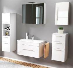 Badmöbel Set 7-tlg. Viva Hochglanz weiß Badkombination inkl. Waschbecken und LED Spiegellampe 175 x 190 cm