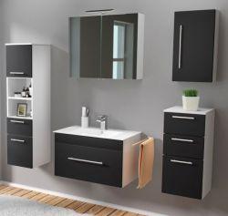 Badmöbel Set 7-tlg. Viva schwarz Seidenglanz Badkombination inkl. Waschbecken und LED Spiegellampe 175 x 190 cm