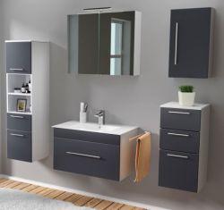 Badmöbel Set 7-tlg. Viva anthrazit Seidenglanz Badkombination inkl. Waschbecken und LED Spiegellampe 175 x 190 cm