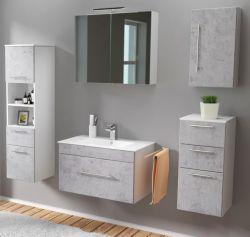 Badmöbel Set 7-tlg. Viva Stone Design grau Badkombination inkl. Waschbecken und LED Spiegellampe 175 x 190 cm