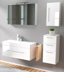 Badmöbel Set 6-tlg. Viva Hochglanz weiß Badkombination inkl. Waschbecken und LED Spiegellampe 150 x 190 cm
