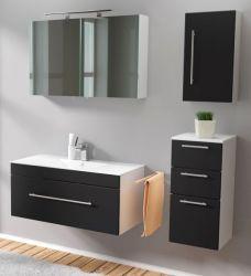 Badmöbel Set 6-tlg. Viva schwarz Seidenglanz Badkombination inkl. Waschbecken und LED Spiegellampe 150 x 190 cm