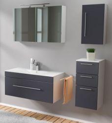 Badmöbel Set 6-tlg. Viva anthrazit Seidenglanz Badkombination inkl. Waschbecken und LED Spiegellampe 150 x 190 cm