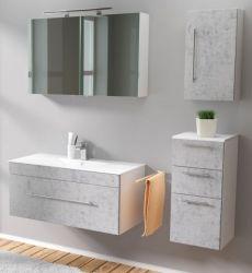 Badmöbel Set 6-tlg. Viva Stone Design grau Badkombination inkl. Waschbecken und LED Spiegellampe 150 x 190 cm