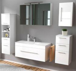 Badmöbel Set 7-tlg. Viva Hochglanz weiß Badkombination inkl. Waschbecken und LED Spiegellampe 200 x 190 cm
