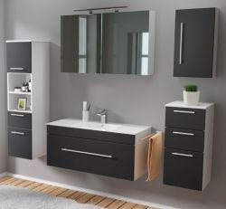 Badmöbel Set 7-tlg. Viva schwarz Seidenglanz Badkombination inkl. Waschbecken und LED Spiegellampe 200 x 190 cm