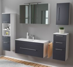 Badmöbel Set 7-tlg. Viva anthrazit Seidenglanz Badkombination inkl. Waschbecken und LED Spiegellampe 200 x 190 cm