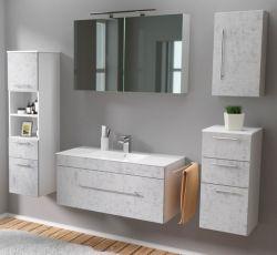 Badmöbel Set 7-tlg. Viva Stone Design grau Badkombination inkl. Waschbecken und LED Spiegellampe 200 x 190 cm