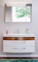 Badmöbel Set Rima in Walnuss und weiß Hochglanz Badkombination 4-tlg. 100 cm inkl. Waschbecken und Spiegellampe