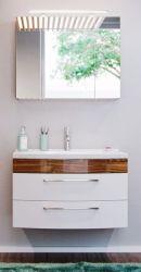 Badmöbel Set Rima in Walnuss und weiß Hochglanz Badkombination 4-tlg. 82 cm inkl. Waschbecken und Spiegellampe