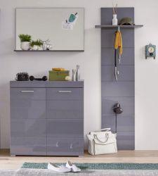 Garderobe Set 3-teilig Amanda in Hochglanz grau Flur Garderobenkombination 161 x 195 cm