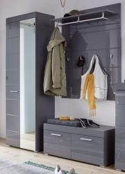 Garderobe Set 3-teilig Amanda in Hochglanz grau Flur Garderobenkombination 163 x 195 cm