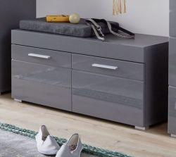 Garderobe Sitzbank Amanda in Hochglanz grau Garderobenbank und Schuhschrank 91 x 42 cm