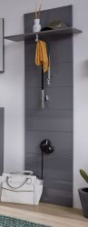Garderobenpaneel Amanda in Hochglanz grau Wandgarderobe 60 x 195 cm