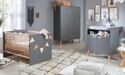 Babyzimmer Mats in grau matt mit Buche massiv komplett Set 3-teilig mit Wickelkommode Kleiderschrank und Babybett