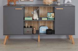 Baby- und Kinderzimmer Sideboard Mats in grau matt mit Buche massiv Kommode 160 x 86 cm