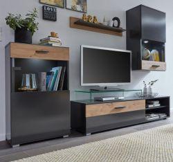 Wohnwand Zip in matt grau und Artisan Eiche Schrankwand 4-teilig 230 x 180 cm