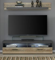 TV-Lowboard und Wandboard Opus in Old Used Wood hell Shabby mit Matera grau Set 2-teilig 139 cm Pale Wood