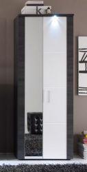 Garderobe Garderobenschrank Xpress Esche grau und weiß 69 x 184 cm inkl. LED Beleuchtung
