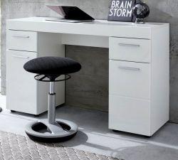 Schreibtisch Amanda in Hochglanz weiß Laptoptisch für Homeoffice und Büro 120 x 76 cm