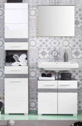 Badkombination SetOne in Hochglanz weiß und Sardegna grau Rauchsilber Badmöbel Set 3-teilig 110 x 182 cm