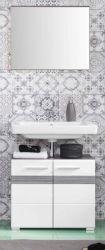 Badkombination SetOne in Hochglanz weiß und Sardegna grau Rauchsilber Badmöbel Set 2-teilig 60 x 182 cm